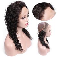 dantel peruklar african american women toptan satış-Öpücük Saç Derin Dalga Ön Koparıp Tutkalsız Dantel Ön Virgin İnsan Saç Peruk 8-24 inç Tam Dantel Peruk Siyah Kadınlar Için Afrika Amerikan Peruk