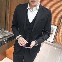 graue farb-tuxedo groihandel-Pure Color Formal Männer Blazer Jacke mit Weste und Hose schwarz rot grau blau Herren Smoking Anzug 3-teiliges Set Asien-Größe Terno Masculino