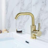 pinsel armaturen großhandel-Gebürstetes Gold und schwarzes Messing Bad Becken Wasserhahn drehbar Wasser Mischbatterie Einzelhalter Deck montiert
