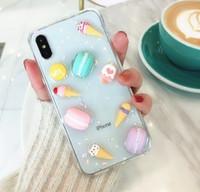 gel gratuit x achat en gros de-Cartoon Macaron Soft TPU Gel Couverture de téléphone pour iPhone X 6s 7 8 plus DHL gratuit
