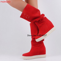 Wholesale black suede wedge long boots for sale - Group buy Red Suede Leather Hidden Wedge Boots Slip on Platform Women height increased Knee High Boots female Long