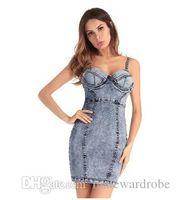 jeans de liga para mujer al por mayor-Dril de algodón azul de Jean de la vendimia de Bodycon de los vestidos sin tirantes de verano de las mujeres de la liga de los vestidos sin espalda de la cadera hasta la envoltura