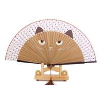 ingrosso pieghevole disegno del ventilatore-I fan piegante di seta del regalo del partito del fumetto del gatto disegnati a mano di bambù Fan di vernice Maniglia Fans bomboniera per feste di souvenir