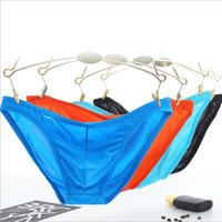bragas de seda más tamaño al por mayor-Resumen la ropa interior ultra delgado de seda del hielo de los hombres de sólido masculino bragas 6pcs / lot masculino Calzoncillos M-2XL más tamaño Panty