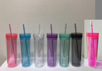 Wholesale personalized tumbler for sale - Group buy 16oz classic acrylic skinny tumbler acrylic tumbler COLORS OPTIONS double wall personalized plastic tumbler with reusable lid and straw