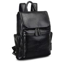 moda deri sırt çantaları toptan satış-Yeni Tasarımcı Sırt Çantası Moda Deri Erkek Sırt Çantası Büyük Kapasiteli Seyahat Sırt Çantaları Öğrenci Tasarımcı Bookbag Yüksek Kalite