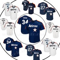 ko großhandel-27 Jose Altuve 5 Jeff Bagwell 7 Nolan Ryan Astros Baseball-Jersey Houston Retro Jersey