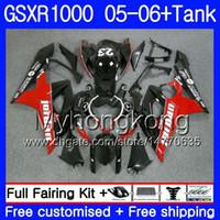 gsxr k5 fairings kırmızı toptan satış-SUZUKI Için Kiti + Tank GSXR-1000 1000CC GSXR 1000 05 06 Vücut 300HM.30 GSX-R1000 1000 CC GSX R1000 K5 GSXR1000 siyah kırmızı sıcak 2005 2006
