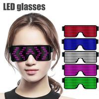 marco para led al por mayor-Gafas de sol LED 8 modos Flash rápido Pantalla LED Pantalla Gafas de fiesta Gafas de carga USB Gafas LED Gafas de sol para niños CCA11699 10pcs