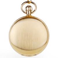 relógios de ouro de luxo venda por atacado-Relógio de Bolso de Ouro Moda Estilo Mecânico Unisex Lua Fase de Luxo Relógio de Bolso Fob Com Corrente