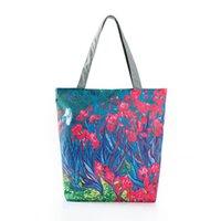 yağlı boya tuval tasarımı toptan satış-Kaliteli Çiçek Baskılı Omuz Çantası Kadın Renkli Yağlıboya Tasarım Tuval Tote Çanta Kadın Günlük Kullanım Alışveriş Çantası