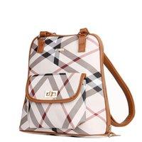 reisetaschen für frauen großhandel-Frauen Plaid PVC Faser Rucksack Schule Reisetasche Rucksack