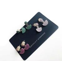 красочные серьги для женщин оптовых-Luxury women earrings vintage colorful diamond stud earrings European designer jewelry For Women Gift