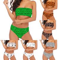 conjuntos de bikini sin tirantes al por mayor-Traje de baño de mujer 19 colores Bikini de cintura alta Traje de baño sin tirantes Camo Impreso Verano Ropa de playa Trajes de baño Tankini 2 sets OOA6812