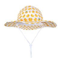 Wholesale baby duck hat for sale - Group buy UV Protection Summer Baby Sun Hat Girl Boy cute Beach Yellow Duck Hats with UPF Toddler Wide Brim Strap Outdoor Bucket Hat