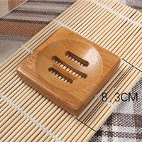 Wholesale bamboo boxes resale online - Bamboo Soap Dish Natural New Portable Soap Tray Holder Natural Bamboo Soaps Dish Box Case Bath Shower bathing Plate FFA2310