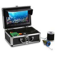ingrosso fishfinder fishfinder-15M 1000TVL Fish Finder Pesca subacquea Kit fotocamera da 9 pollici Monitor Pesca video 15pcs LED bianchi + Lampada a infrarossi Fishfinder