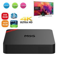 mini-set tv-box großhandel-New M9S Mini Android TV Box 4K Android 7.1 Amlogic S905W TVBOX 1 GB 8 GB 2 GB 16 GB Günstige Smart IPTV TV Set Box M9Smini