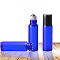 Wholesale ml glass roller bottles resale online - Pieces ML Roll On Blue Glass Refillable Perfume Bottle Portable Empty Essential Oil Roller Bottles