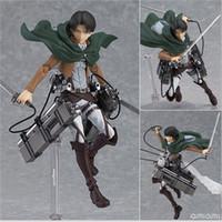 figuras de ação de titã de ataque venda por atacado-Ataque Em Titan Action Figure Boneca Eren Anime Japonês Mikasa Ackerman Levi Rivaille Figma Modelo 56bx F1