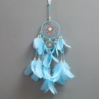 Wholesale toy network resale online - 5 Styles Feather Dreamcatcher Girl Catcher Network Dream Catcher Bed Room Hanging Ornament Cartoon Accessories INS pendant Toys M272