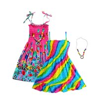 chica de playa 12 años al por mayor-Vestidos de Rainbow Girls Sin mangas con estilo bohemio Beach Sundress para niñas adolescentes 6 8 10 12 13 Año con collar vintage