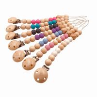 bebek bezi tutacağı toptan satış-Bebek çocuk emzik Klip dudak komik emzik diş zinciri Tutucu Silikon Ahşap Boncuklu Yatıştırıcı Meme Kukla Askı Zinciri teselli molar oyuncak