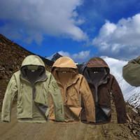 Wholesale red wine coats resale online - Tactical Softshell Fleece Jacket Men Waterproof Hunting Hiking Jacket Warm Hooded Coat version windproof multi function