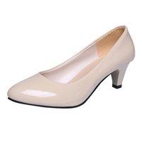 острые пятки на шее оптовых-Обувь YOUYEDIANWomen Лакированная кожа с мелким ртом Single Business High Heels Остроконечное скольжение на высоких каблуках # w35