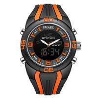 часы двойные цифровые часы оптовых-Erkek kol saati мужские часы Спорт на открытом воздухе Dual Time Камуфляж Кварцевые часы с резинкой Армия LED Цифровые Часы Мужчины Подарок A50