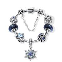 ingrosso stella di natale in rilievo-2019 moda europea e americana blu stella braccialetto di natale ciondolo fiocco di neve braccialetto gioielli perline perline fai da te
