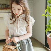 Wholesale 2020 new girls ruffles bow shirt summer cotton fashion girls blouse years HV349