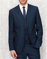 yeni tasarım erkek blazer toptan satış-Lacivert Slim Fit Damat Smokin Erkekler Için Yeni 2019 Tasarım Blazer erkekler için düğün takımları 3 parça