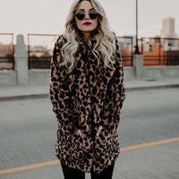 warmleopard pelzmäntel großhandel-Frauen Winter Dicken Mantel Kunstpelz Jacken Weibliche Leopardenmuster Warme Outwear Für Damen 2018 Mode Lange Kunstpelzmäntel