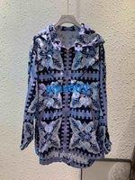 patrones de abrigo para mujer al por mayor-Mujeres niñas Camiseta de manga larga con estampado de tops Patrón de moda multicolor para mujer Camiseta de manga larga con capucha tops S M L