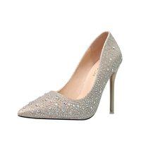 gümüş düğün stilettos toptan satış-Rhinestone Sivri Burun Gümüş Yüksek Topuklu Kadın Pompaları Parti Düğün Ayakkabı Mary-Jane Yakın Toe Klasik Stiletto Topuk Elbise Topuklu