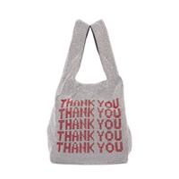 Wholesale men leopard vest resale online - Thank you sequins Bags Women Small Tote Bags Crystal Bling bling Fashion Lady Bucket Handbags Vest Girls Glitter Purses Brand