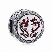 acessórios chinês bead venda por atacado-Novo 925 prata Bead Encanto chinês Dragão e Phoenix Sorte Com Crystal Bead Fit pulseira marca Bangle DIY Jóias Acessórios