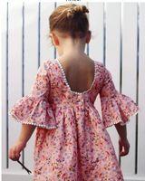 ingrosso vendita di abiti da sposa sveglia-2019 vendita calda Cute Toddler Kid Baby Girl manica lunga floreale Party Princess Boho Pageant Dress