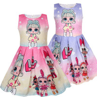 ingrosso bambini che indossano abiti carini-Kids Designer Clothing Sorpresa Ragazze Princess Dress senza maniche Cartoon Cute Dress Jacquard con Cotton Linging Girls Party Wearing C3153