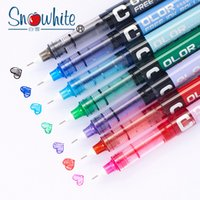 Wholesale type needles resale online - 7pcs set mm Simplicity color Large Gel Pen Needle type quick drying straight liquid type ball pen color water Gel Pens