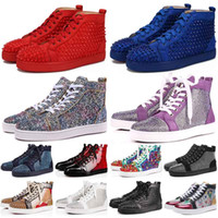 Wholesale white patent leather boots women resale online - Hot Sale New brand mens boots women high Cut top suede red bottoms casual shoes Raplicas Traderjoes Fashion lace up luxury Designer sneakers