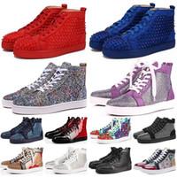 satılık ayakkabı bağları toptan satış-Sıcak Satış Yeni marka erkek çizmeler kadın yüksek Kesim üst süet kırmızı dipleri rahat ayakkabılar Raplicas Traderjoes Moda dantel-up lüks Tasarımcı sneakers