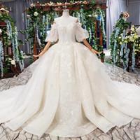 Wholesale princess wedding dresses resale online - 2019 Summer Latest Wedding Dresses Sweetheart Neck Tulle Princess Half Sleeve Backless Lace Up Back Sequins Crystal Applique Bridal Gowns