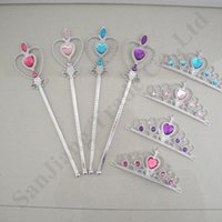 magische haarbänder großhandel-Snow Queen 2 II Tiara-Krone und Wand 2ST Set-Mädchen-Kind-Abendkleid-Prinzessin Jewel Hair Bands Magic Stick Stirnband-Partei-Bevorzugungen A110702