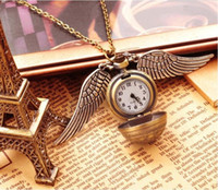 harry potter hırsız cebi toptan satış-Harry Altın Snitch Pocket Saat Antik Bronz Kanat Topu kolye kolye Zincirler Potter Moda Takı Fanlar Hediye Bırak Gemi