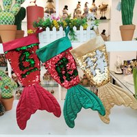 calcetines de chrismas al por mayor-Chrismas Socking Gift Bags Mermaid Bling Bead FlipTail Xmas Tree Colgante Bolsa de regalo Decoración Candy Socks Festival Ornament 08