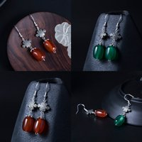 Wholesale agate barrel beads for sale - Group buy 925 Silver Tradition China Form Red Agate Barrel Bead Earrings Woman Chinese Style Nation Wind Manual Diy Temperament Ear Hook