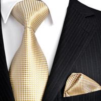 gravata de seda de champanhe venda por atacado-Atacado Sólidos Verificados Floral Luz Amarela Champanhe Ouro Gravatas dos homens Conjunto Gravatas Quadrado de Bolso 100% Jacquard de Seda Tecido