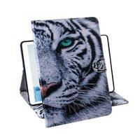 desenho da coruja venda por atacado-Para Samsung Galaxy Tab S7e T720 T725 Tablet Estojo Capa Flip Stand Carteira De Couro Desenho Colorido Tiger Lion Owl Flower